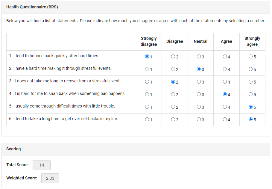 Sample of electronic data capture form with questions, scales, radio buttons and score calculators.